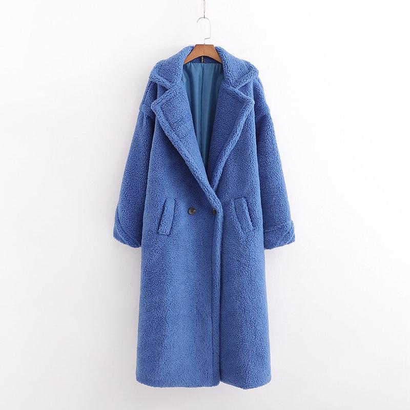 Autumn Winter Women Royal Blue Teddy Coat Stylish Female Thick Warm Cashmere Jacket Casual Girls Streetwear