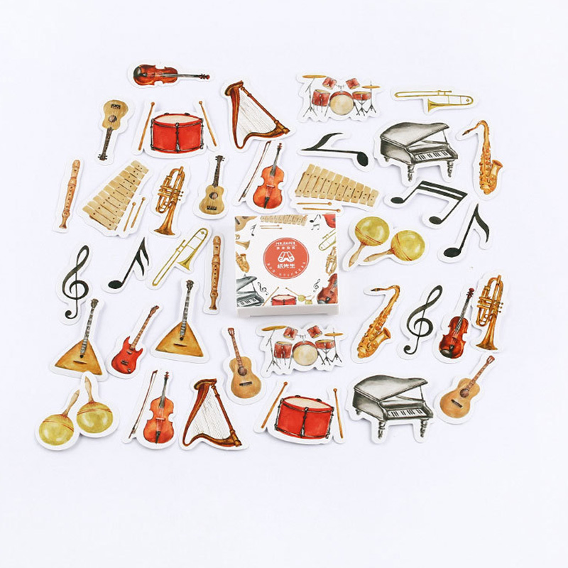 45 Pcs/pack Cute Musical Instrument Washi Stickers Decoration Stationery Sticker Scrapbooking DIY Diary Album Stick Label