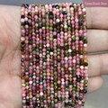 Граненые разноцветные турмалиновые камни, круглые бусины-разделители для изготовления ювелирных изделий, бусины из натурального камня, дл...