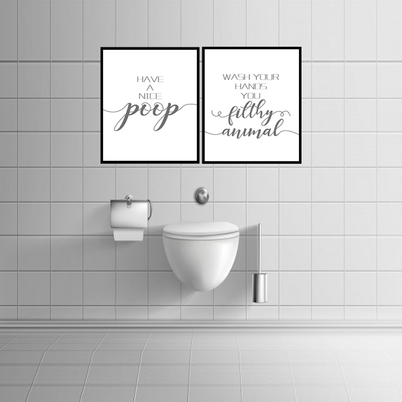 Bathroom Prints Funny Quote Wall Art Picture Printable Toilet Sign Poster Print Have A Nice Poop Wash Your Hands Toilet Decor Painting Calligraphy Aliexpress