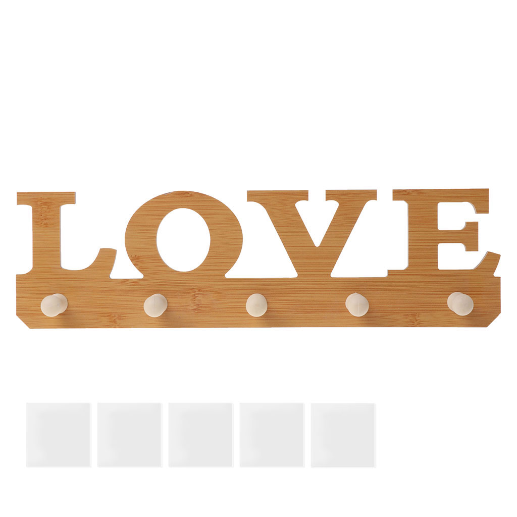 Adhesive Wooden LOVE Door Wall Decoration Hanger Hooks Clothes Bag Key Holder
