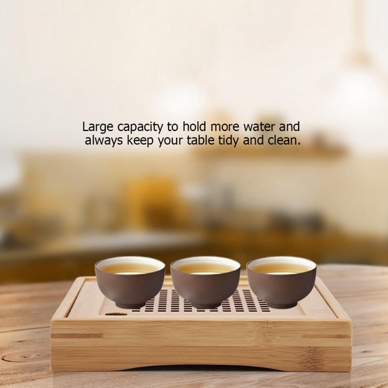 Mini Square Bamboo Tea Tray Drainage Water Storage Kung Fu Tea Set Room Board Table Chinese Tea Cup Ceremony Tools|Tea Trays| |  - title=