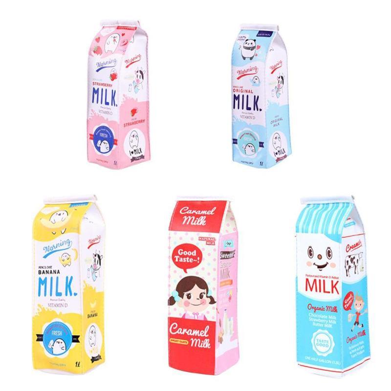 Cartoon Milk Carton Pen Bag Primary School Students Cute Creative Large-capacity Pencil Bag Woman Simple Stationery Pen Box