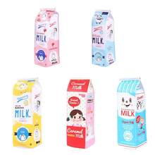 Cartoon milk carton pen bag primary school students cute creative large-capacity pencil bag woman simple stationery pen box(China)