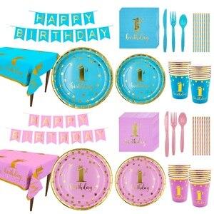 Vajilla desechable de 1er cumpleaños, suministros de fiesta de cumpleaños para niños, decoración de fiesta con diseño de feliz cumpleaños, niños, Baby Shower, Niña