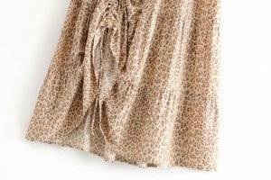Image 3 - Vintage chic fashion Hippie women beach Bohemian leopard print Fold design skirt High Elastic  A Line Boho Maxi Skirt Femme