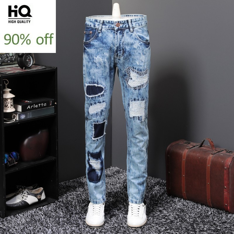 Spring Autumn Gothic Mens Patch Hole Ripped Straight Loose Denim Pants Full Length Stretchy Fashion Casual Big Size Male Pants