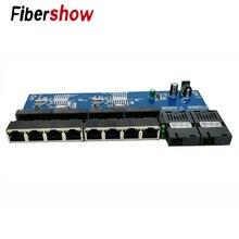 Gigabit ethernet switch fibra óptica conversor de mídia pcba 8 rj45 utp e 2 sc fibra porto 10/100/1000 m placa pcba 3 peças