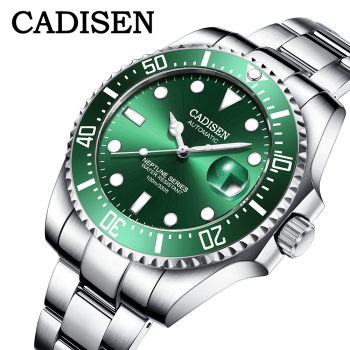 CADISEN DESIGN Men Watch Mechanical Top Luxury Brand Swim Wristwatch Stainless Steel Automatic Watch Japan NH35A Reloj hombres cadisen men automatic mechanical watch top luxury brand seiko nh35a movement stainless steel 50m waterproof curved glass watch