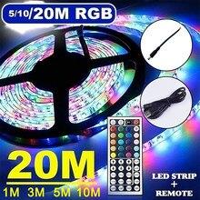1/3/5/10/20m tira conduzida rgb luzes led fita smd 3528 dc12v diodo emissor de luz fita flexível não wateproof com controle remoto