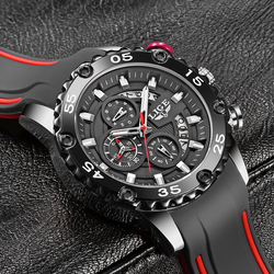 Watches Mens 2021 LIGE Top Brand Waterproof Clock Male Silicone Strap Sport Quartz Watch For Men Big Dial Chronograph Wristwatch