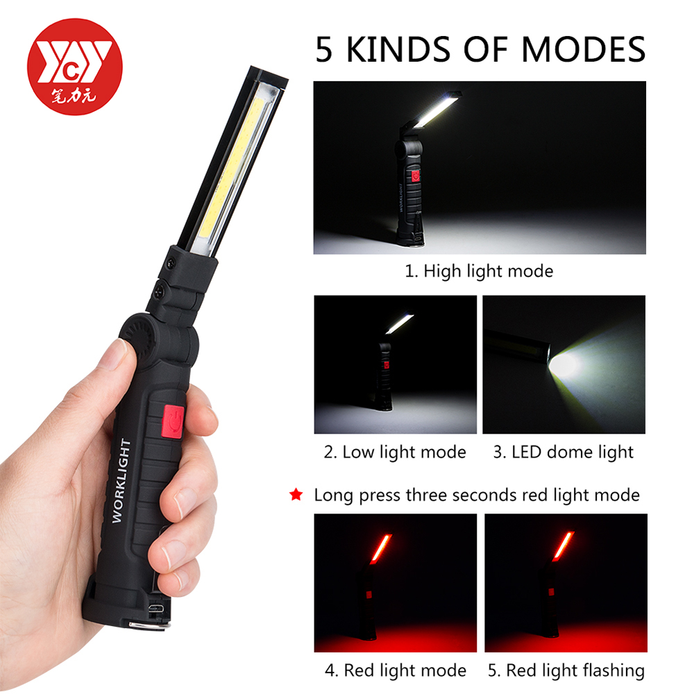 Portable 5 Mode COB Flashlight Torch Magnetic COB Lanterna USB Rechargeable LED Work Light Hanging Hook Lamp For Outdoor Camping