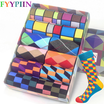 2020 hot men socks combed cotton gifts for plaid geometric Casual  mens colorful happy
