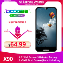 "Doogee X90 téléphone portable 6.1 ""HD Waterdrop ecran 1GB RAM 16GB ROM 3400mAh MT6580A/WA Quad Core Face ID Android 8.1 Smartphone"