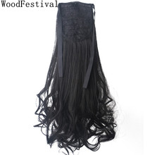 WoodFestival Women Heat Resistant Pony tails Long Wavy Clip In Ponytail Synthetic Hair Extension недорого