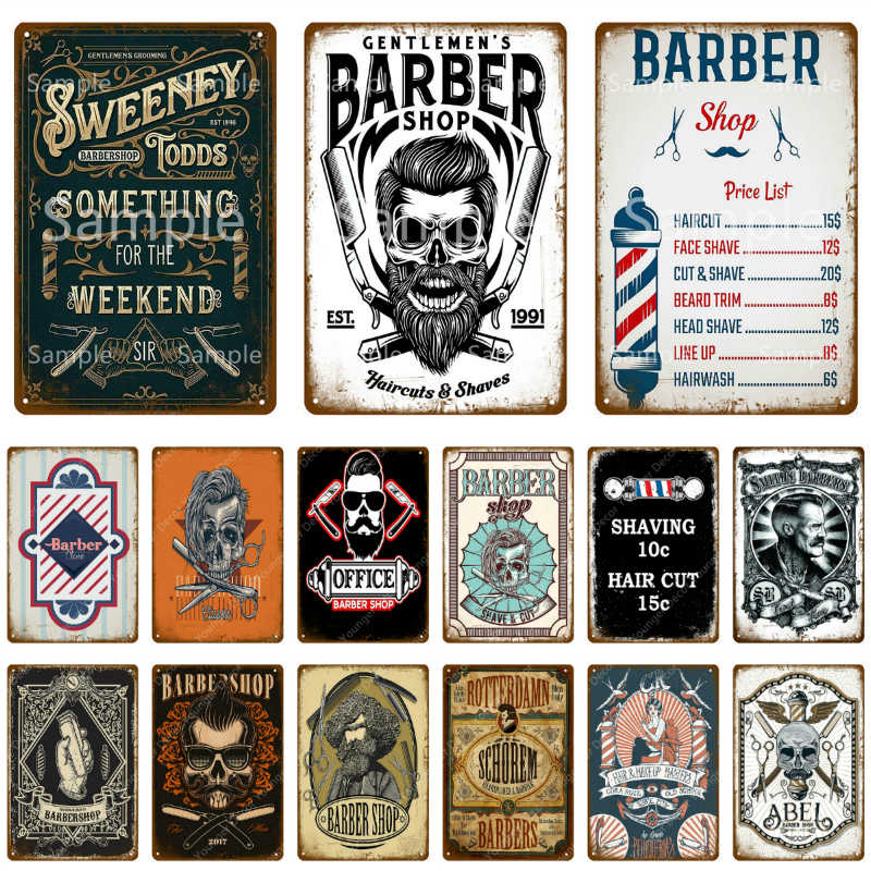 vintage barber shop metal signs shaving hair cut poster cafe bar pub retro plaque haircut and shave beard iron plates yl002