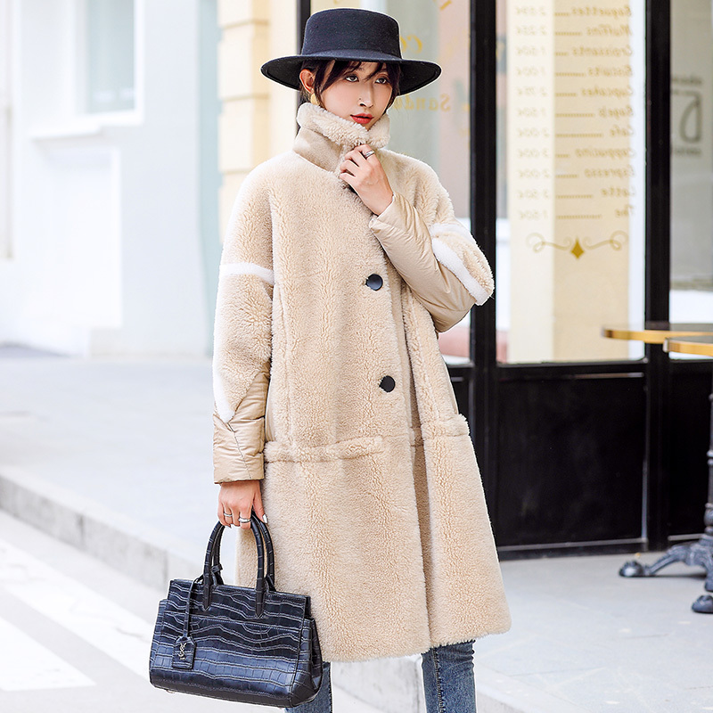 Coat Fur Real Female 100% Wool Coat Winter Coat Women Clothes 2020 Sheep Shearling Long Down Jacket Manteau Femme FA257