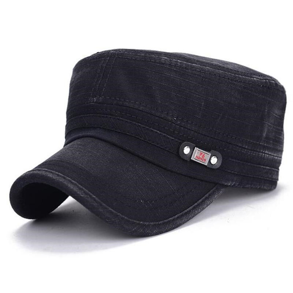 2019 New Arrival Men's Cotton Polyester Military Hat  Old Washed Flat Cap Plain Vintage Army Military Cadet Style Cap