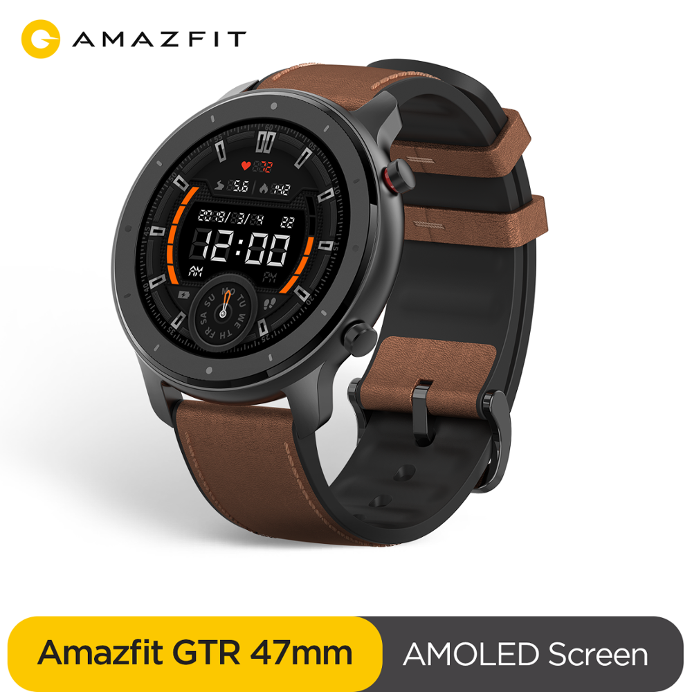 Global Version Amazfit GTR 47mm Smart Watch 5ATM Waterproof Smartwatch 24Days Battery GPS Music Control Leather