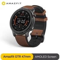 Globale Version Amazfit GTR 47mm Smart Uhr 5ATM Wasserdichte Smartwatch 24 Tage Batterie GPS Musik Control Leder Silicon Strap