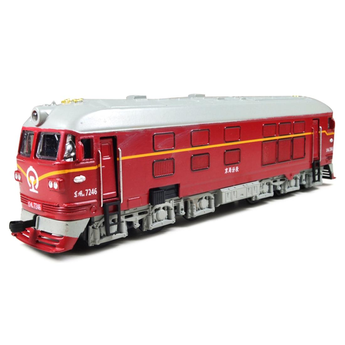 1 pcs simulado liga trem locomotiva modelo puxar para tras veiculo brinquedo com puxar para tras