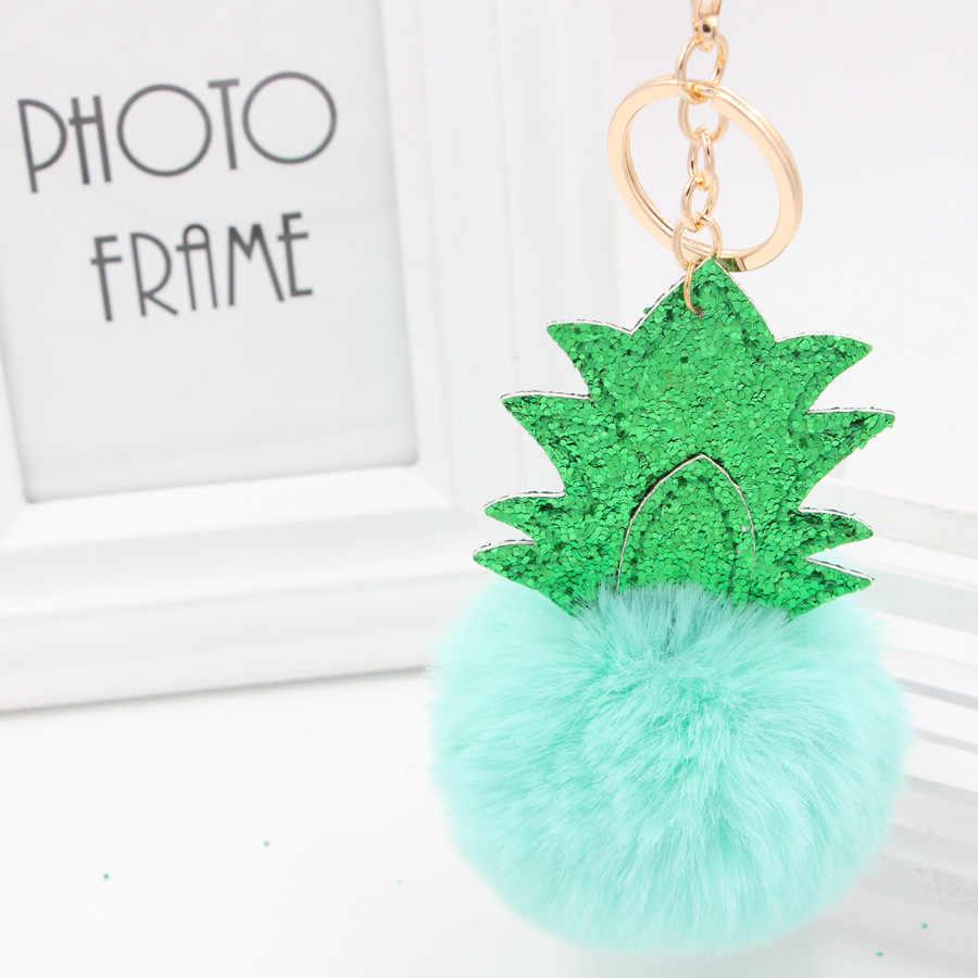 Pom брелок с блестками Рождественская елка форма ананаса пушистый брелок для ключей кольцо имитация кроличьего меха женская сумка Шарм брелок