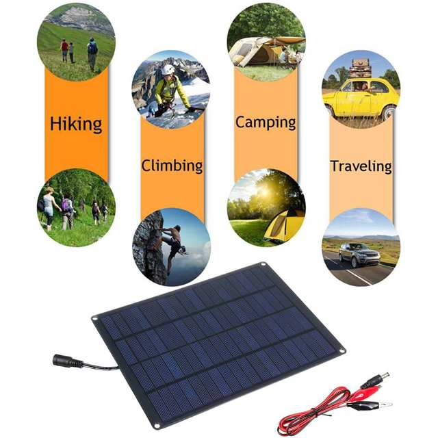 20W 12V 18V Solar Panel with battery Clip+10/20/30/50A Solar Car Charger Controller Solar Cells for Outdoor Camping Hiking 4
