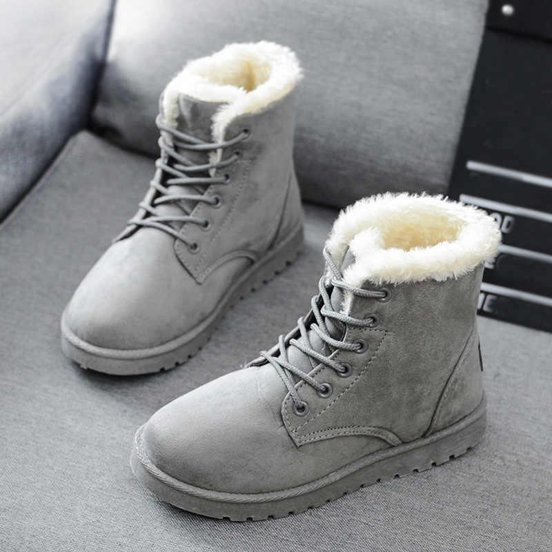 Grande taille femmes bottes mode bottines femme chaussures d'hiver femmes bottes de neige fourrure chaud bottes d'hiver dames chaussons Botas Mujer