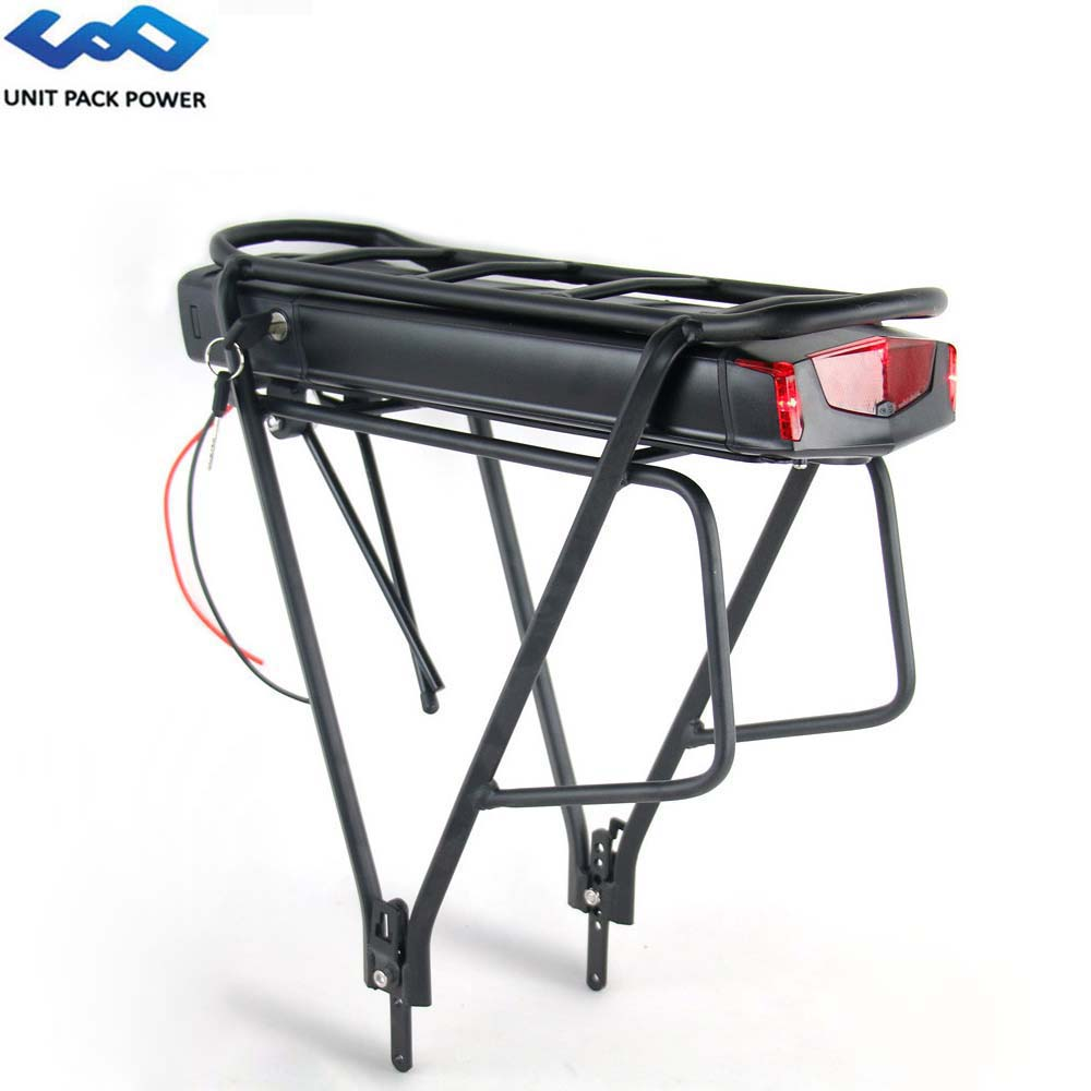 UPP 36V 13Ah Rear Rack Battery 13S5P 468Wh Samsung Cell eBike Batteries With Taillight&Luggage Rack for Bafang 500W 250W Motor|Electric Bicycle Battery| |  - title=