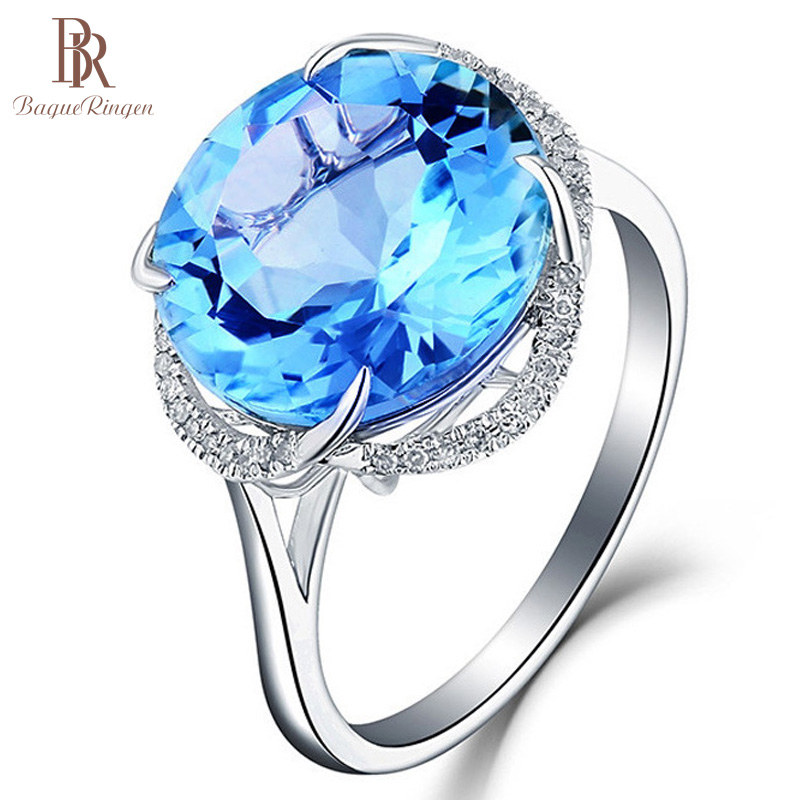 Bague Ringen 925 Sterling Silver Rings For Women With Round Aquamarine Gemstone Women Fine Jewelry Engagement Wholesale Gift