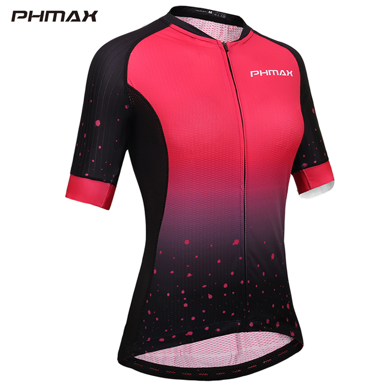 PHMAX Pro Women Cycling Jersey Summer Quick-Dry Anti-UV Cycling Bicycle Clothing Breathable mtb Bike Shirt Cycling Wear