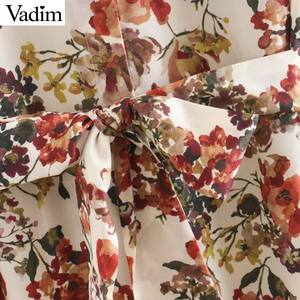 Image 4 - Vadim women sweet floral print maxi dress bow tie sashes long sleeve female casual chic dresses ankle length vestidos QD070