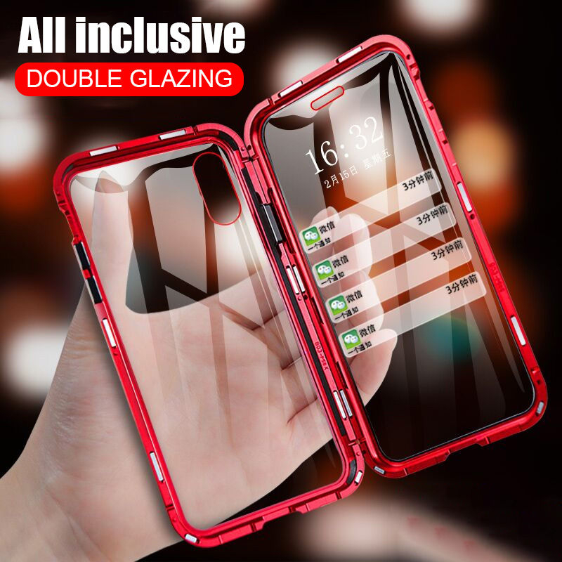 Magnetic Double Side Glass Case For iphone 11Pro Max XR X XS Max 7 8 6SPlus stylish Tempered Glass 2-Layers Hybrid Full Protect