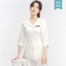 Hairdresser's Beauty Salon Workwear Suit White Coat Nurse's Dress Long Sleeve Doctor's Dress Embroidery Skin Management