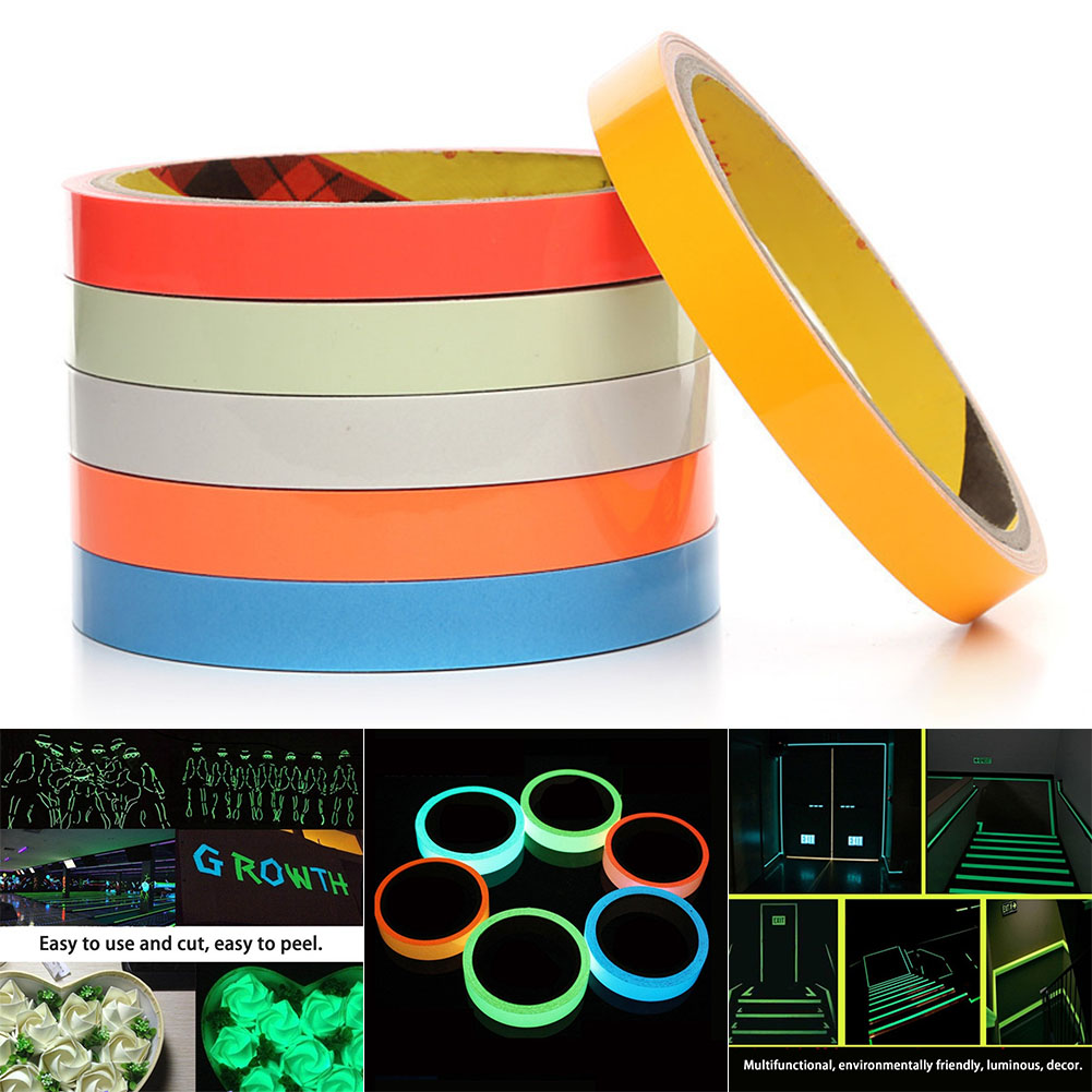 New Reflective Glow Tape 12mmx5m Self-adhesive Removable Luminous Warning Tape DOM668