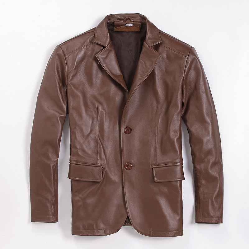 Men's Real Leather Jacket 100% Sheepskin Coat Casual Leather Blazers Spring Autumn Genuine Leather Jackets 6-807 KJ2708