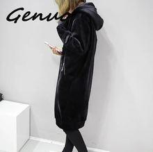 Женское вельветовое пальто с капюшоном Genuo, Черное длинное повседневное пальто с капюшоном, зима 2019