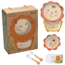 Spoon Fork Plate-Bowl Tableware Cutlery-Set Bamboo-Fiber Eco-Friendly Cartoon Meal-Divider