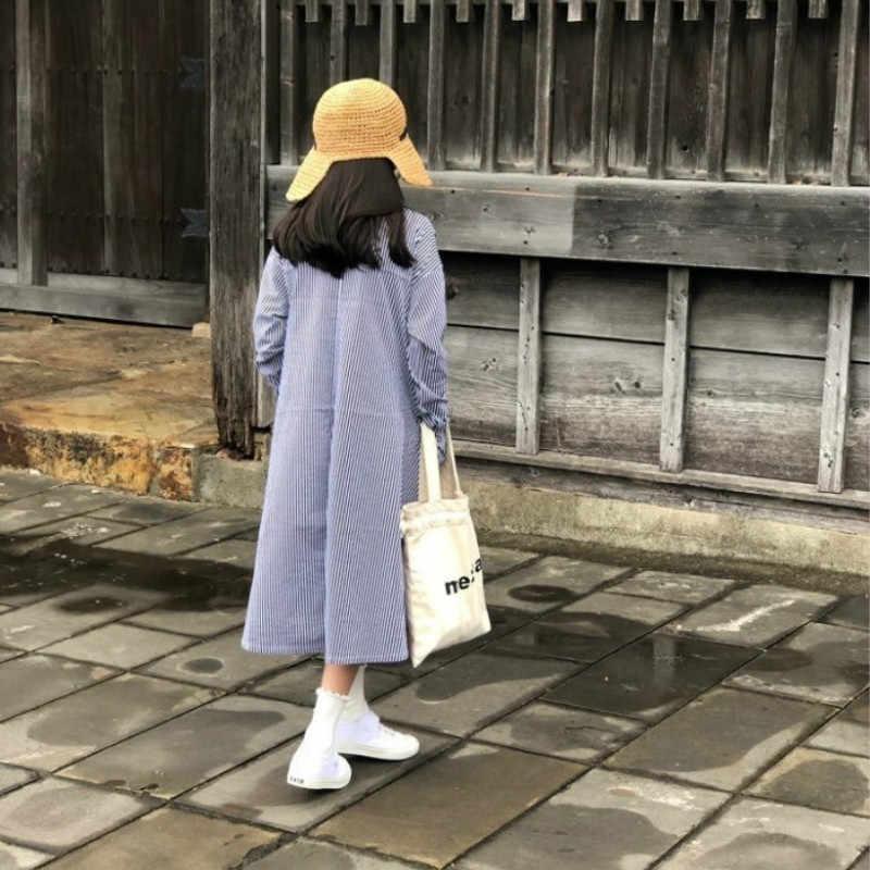 2020 outono meninas vestido de algodão puro bebê meninas manga longa listras vestido crianças lazer vestido adolescente midi vestido, #8534