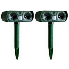2PCS Solar Repellent Cat Repeller Scarer Dual Ultra Deterrent Garden Animal Chaser