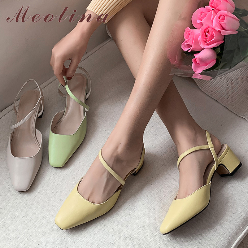 Meotina High Heels Women Shoes Natural Genuine Leather Thick Heels Party Shoes Real Leather Square Toe Pumps Lady Yellow Size 39