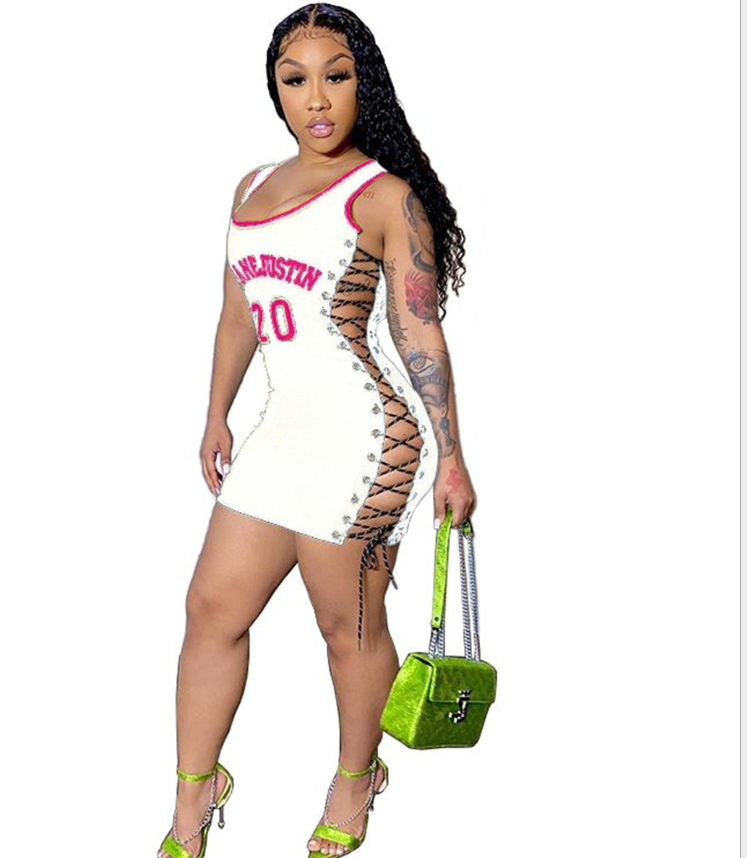 women new sexy bodycon dress summer sleeveless lace up letter print sexy short mini dress female casual dress DHR8009 10