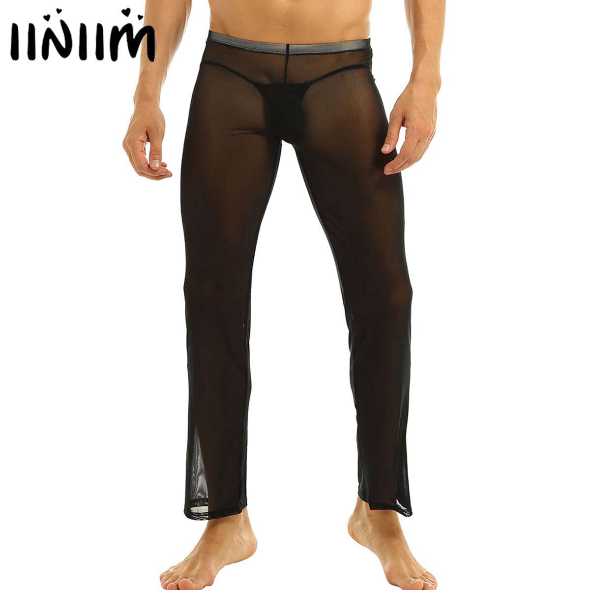 Iiniim Hot Brand Mens Comfortable Mesh Underwear Under Pants See-through Breathable Pants For Evening Sleepwear Sexy Clubwear