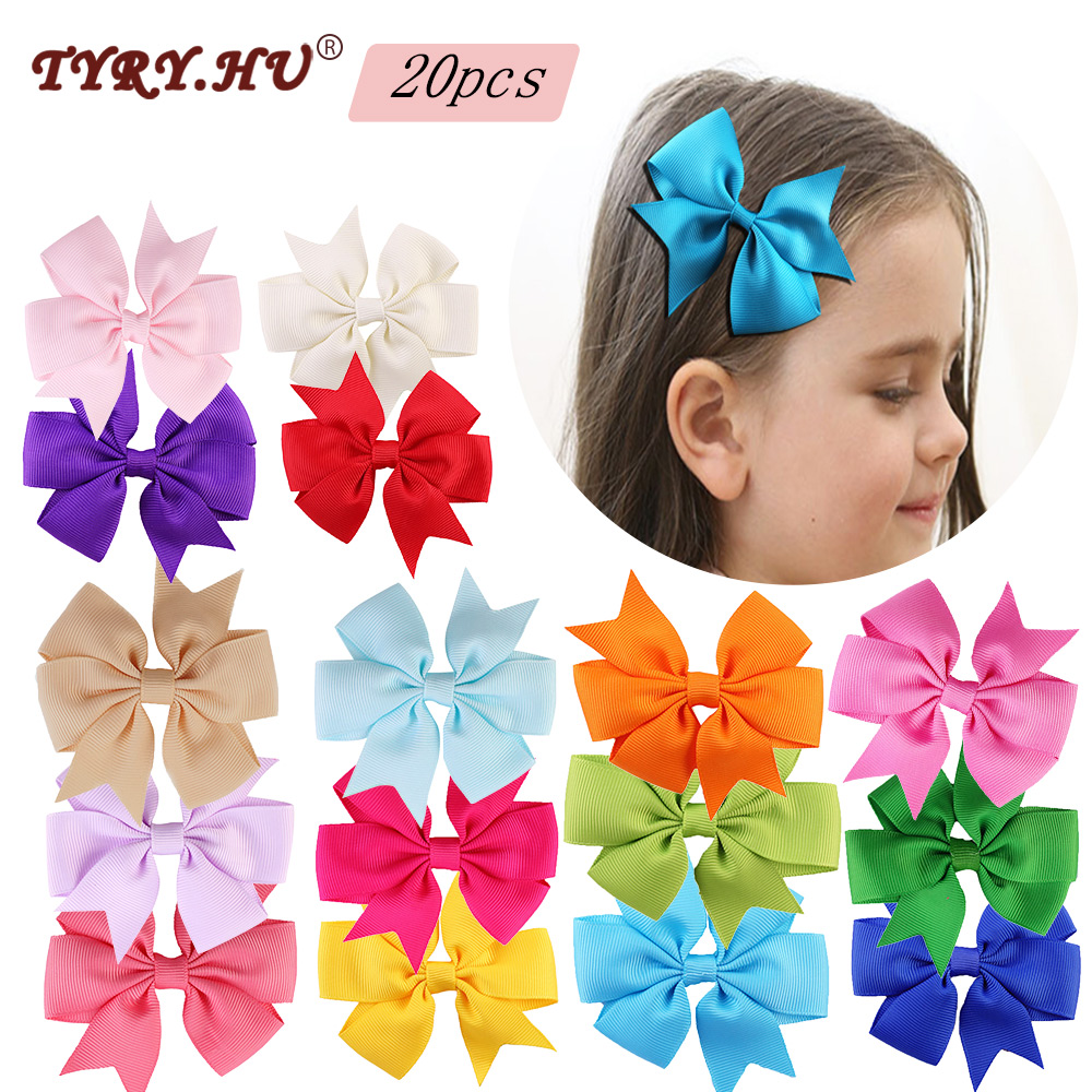 TYRY.HU 20pcs/lot Solid Colorful Bow Tie Hairpins Hair Bows Boutique Hair Clips For Girls Hair Accessories Best For Girl Gifts