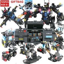 8Pcs/lot City Police Robot ROBOCOP SWAT Technic Bricks LegoINGs Building Blocks Minecrafteds Figures Playmobil Toys for Children