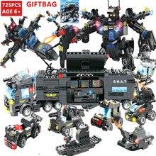 лучшая цена 8Pcs/lot City Police Robot ROBOCOP SWAT Technic Bricks LegoINGs Building Blocks Sets Figures Creator Playmobil Toys for Children