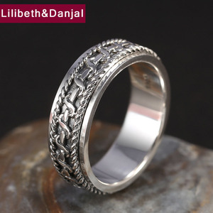 Image 2 - Vintage Black Ring 100% Real 925 Sterling Silver For Men and Women Spinning Thailand silver Joint Ring Jewelry FR5