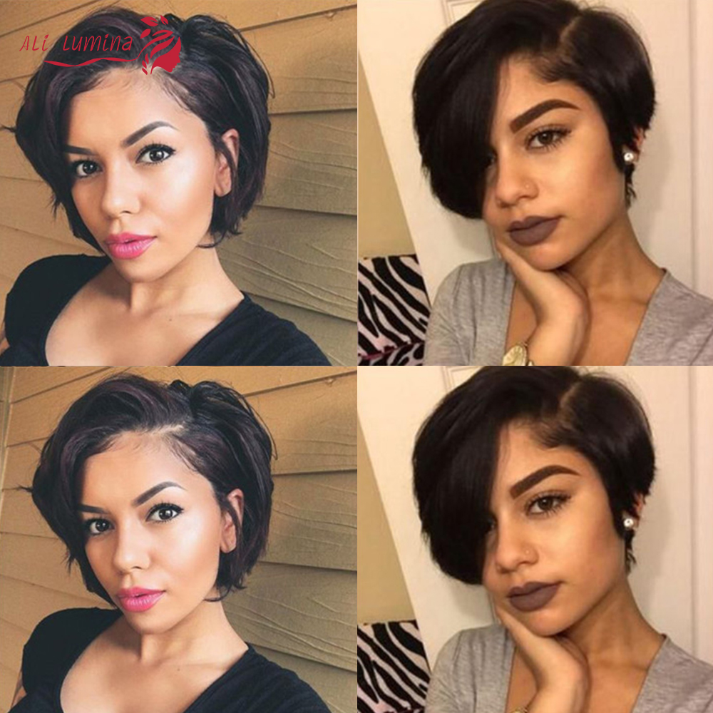 Pixie Cut Bob Lace Front  Wigs Natural Black 13*4 Straight Lace Front Wigs Short  Alilumina 3