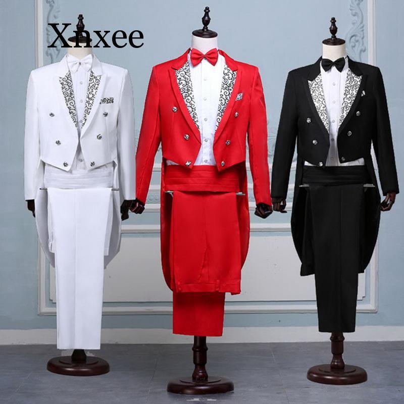 Men Formal Tuxedo Suit Set Classic Black White Red Tailcoat Tuxedo Fashion Suits Men Prom Stage Costume