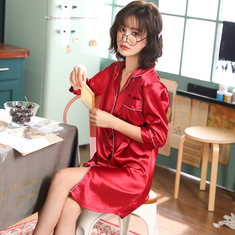 2019 Summer Imitated Silk Fabric Nightgown Women's Summer Short Sleeve Korean-style Cute Cardigan Nightgown Tracksuit M -Xxxl